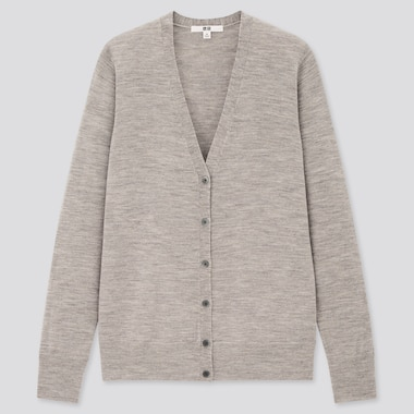 Women Extra Fine Merino V-Neck Cardigan, Gray, Medium