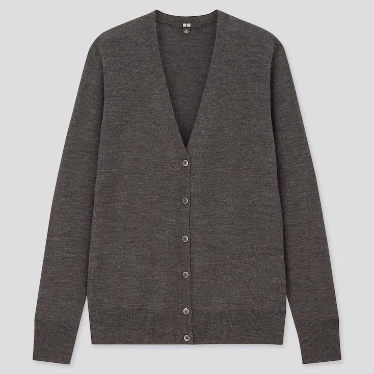 Women Extra Fine Merino V-Neck Cardigan, Dark Gray, Large