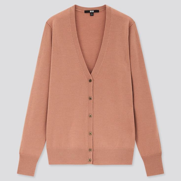 Women Extra Fine Merino V-Neck Cardigan, Pink, Large