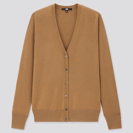 Women 100% Extra Fine Merino Wool V Neck Cardigan