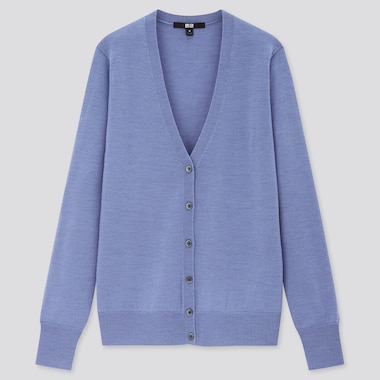 Women Extra Fine Merino V-Neck Cardigan, Blue, Medium