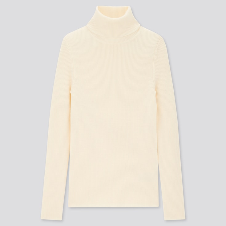 Women Extra Fine Merino Ribbed Turtleneck Sweater, Off White, Large