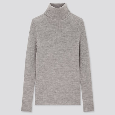 Women 100% Extra Fine Merino Wool Ribbed Turtleneck Jumper