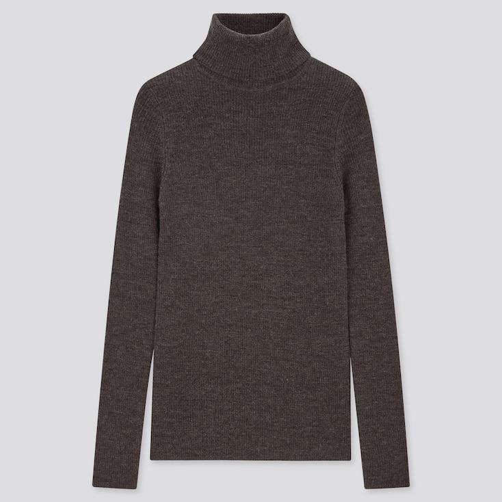 Women Extra Fine Merino Ribbed Turtleneck Sweater, Dark Gray, Large