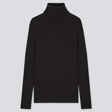 Women Extra Fine Merino Ribbed Turtleneck Sweater, Black, Medium