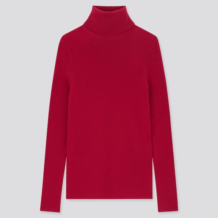 Women Extra Fine Merino Ribbed Turtleneck Sweater, Red, Large