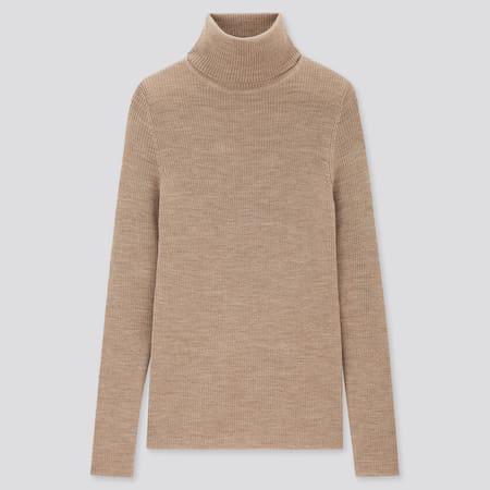 Jersey 100% Lana Extrafina De Merino Canalé Cuello Alto Mujer