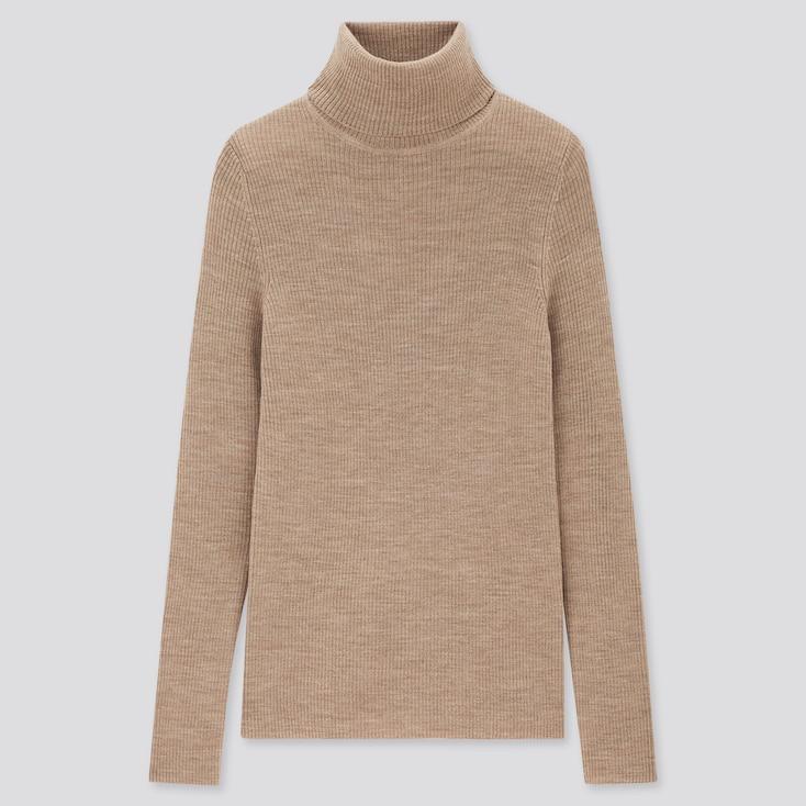 Women Extra Fine Merino Ribbed Turtleneck Sweater, Beige, Large
