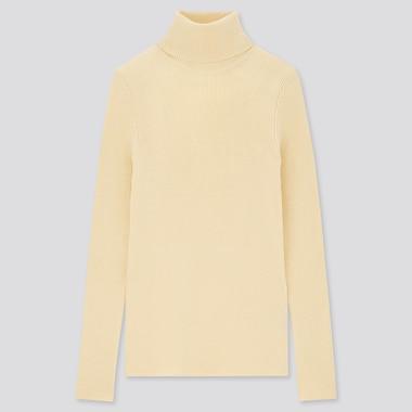 Women Extra Fine Merino Ribbed Turtleneck Sweater, Cream, Medium