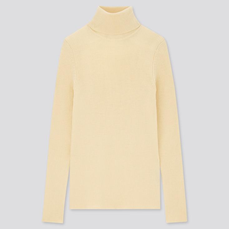 Women Extra Fine Merino Ribbed Turtleneck Sweater, Cream, Large