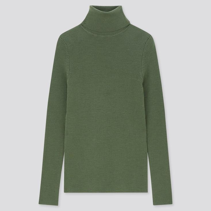 Women Extra Fine Merino Ribbed Turtleneck Sweater, Green, Large