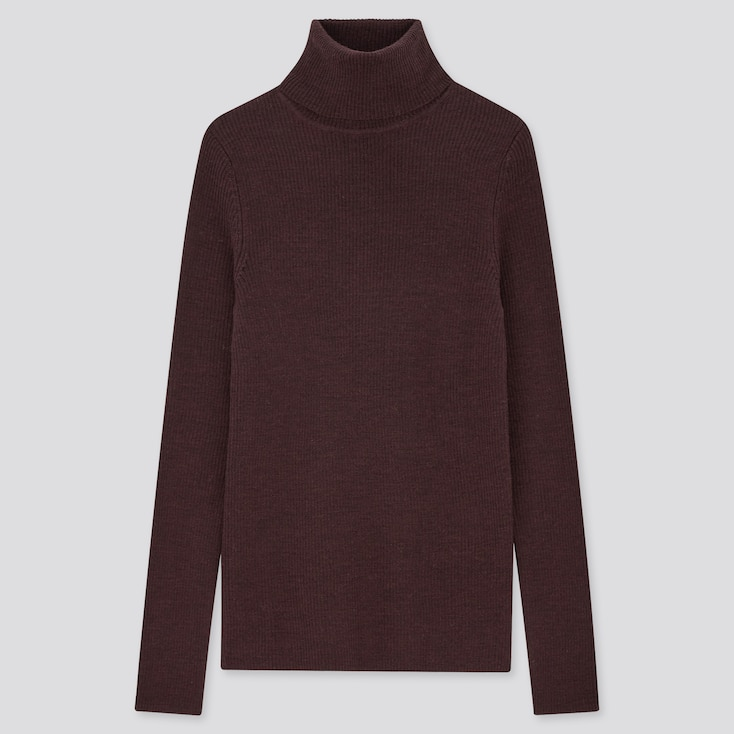 Women Extra Fine Merino Ribbed Turtleneck Sweater, Dark Purple, Large