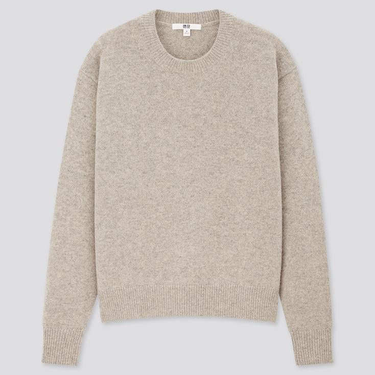 Women Premium Lambswool Crew Neck Sweater, Gray, Large