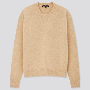 Women Premium Lambswool Crew Neck Sweater, Natural, Medium