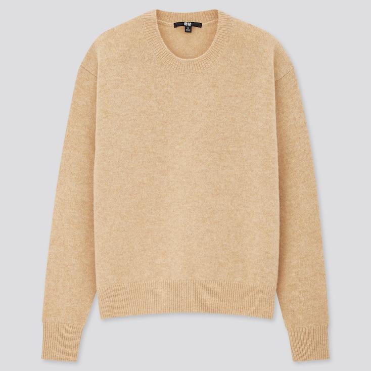 Women Premium Lambswool Crew Neck Sweater, Natural, Large