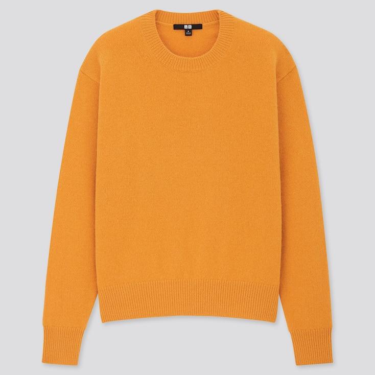 Women Premium Lambswool Crew Neck Sweater, Yellow, Large