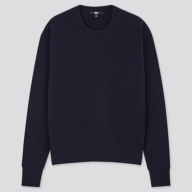 Women Premium Lambswool Crew Neck Sweater, Navy, Medium