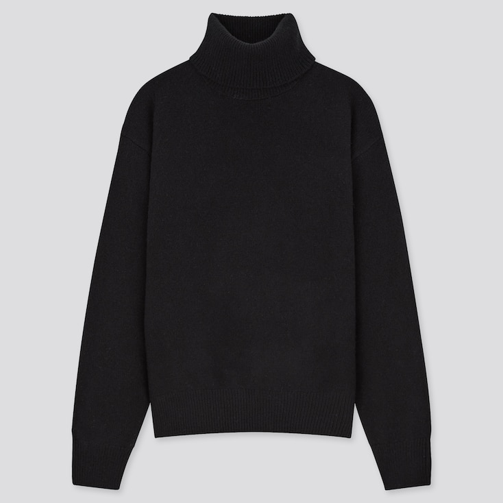 Women Premium Lambswool Off Turtleneck Sweater, Black, Large