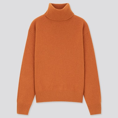 Women Premium Lambswool Off Turtleneck Sweater, Orange, Medium