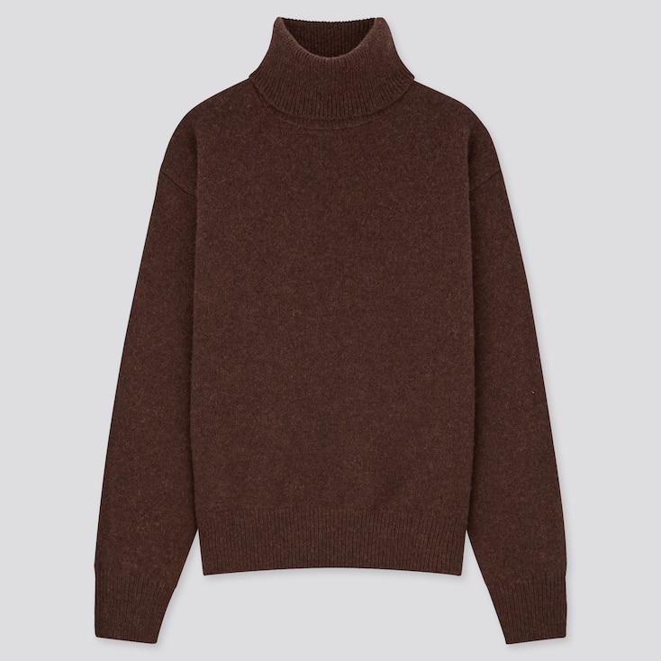 Women Premium Lambswool Off Turtleneck Sweater, Dark Brown, Large