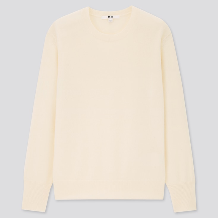 Women Cashmere Crew Neck Sweater, Off White, Large