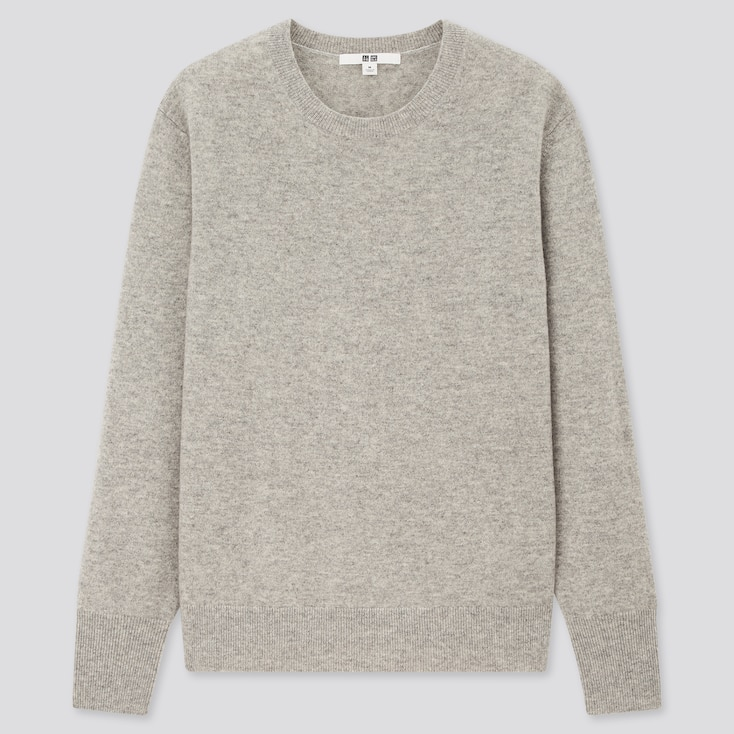 Women Cashmere Crew Neck Sweater, Light Gray, Large