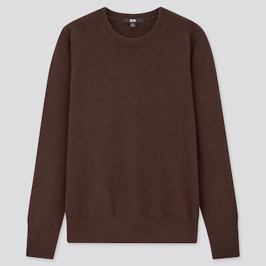 Women Cashmere Crew Neck Sweater, Dark Brown, Medium