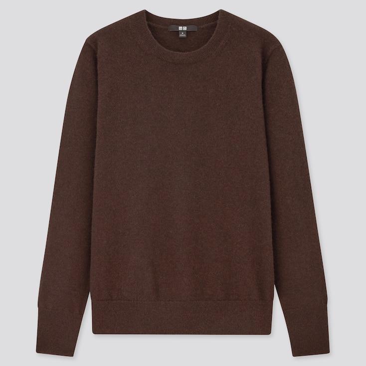 Women Cashmere Crew Neck Sweater, Dark Brown, Large