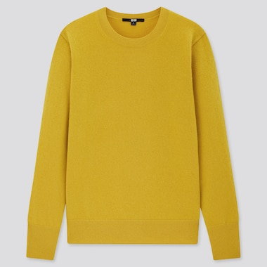 Women Cashmere Crew Neck Sweater, Yellow, Medium