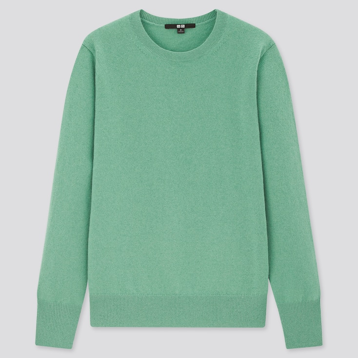 Women Cashmere Crew Neck Sweater, Green, Large