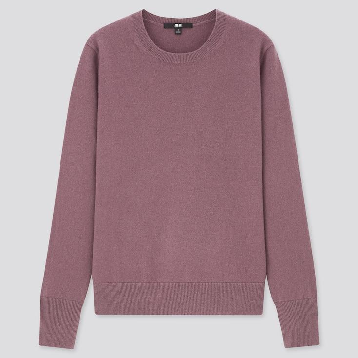 Women Cashmere Crew Neck Sweater, Purple, Large