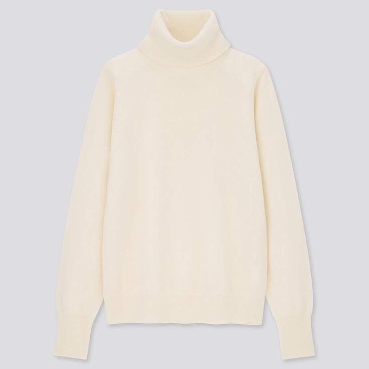 Women Cashmere Turtleneck Sweater, Off White, Large