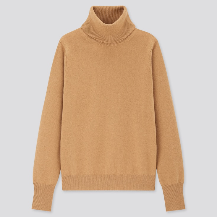 Women Cashmere Turtleneck Sweater, Beige, Large