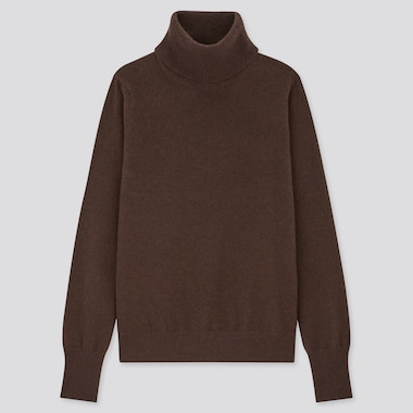 Women Cashmere Turtleneck Sweater, Dark Brown, Medium