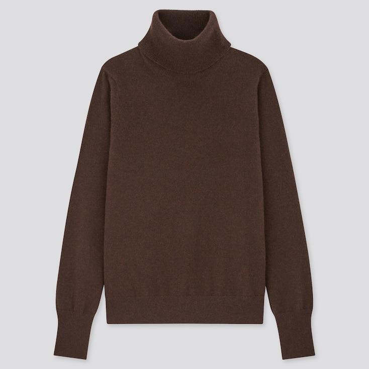 Women Cashmere Turtleneck Sweater, Dark Brown, Large