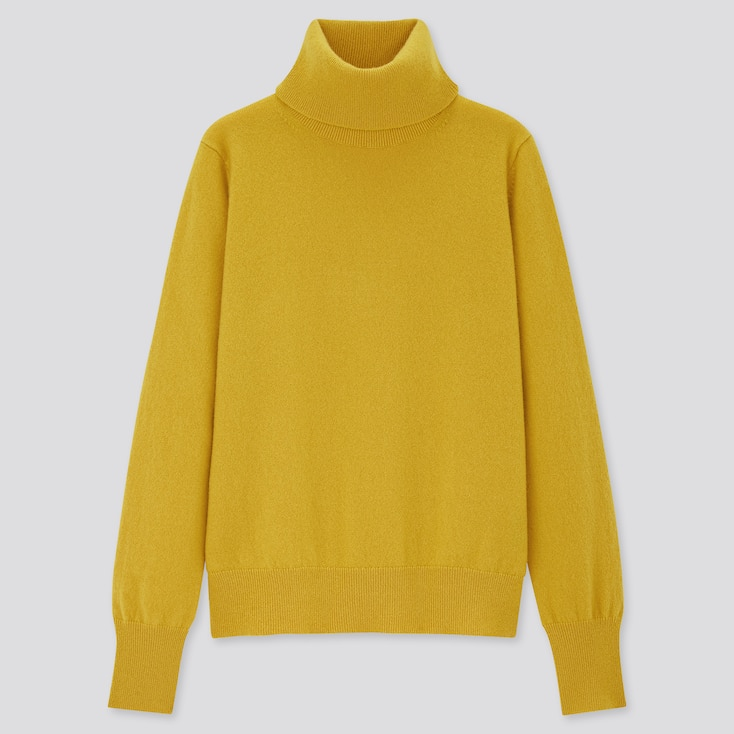 Women Cashmere Turtleneck Sweater, Yellow, Large