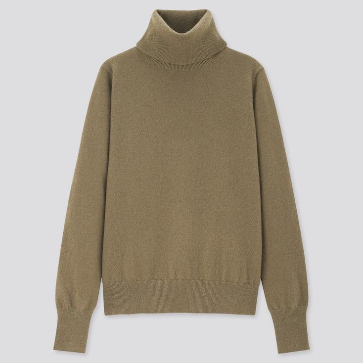 Women Cashmere Turtleneck Sweater, Olive, Large