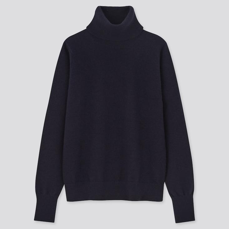 Women Cashmere Turtleneck Sweater, Navy, Large