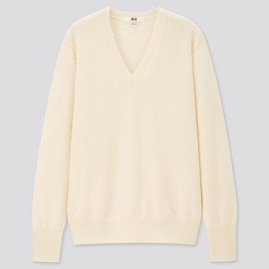 Women Cashmere V-Neck Sweater, Off White, Medium