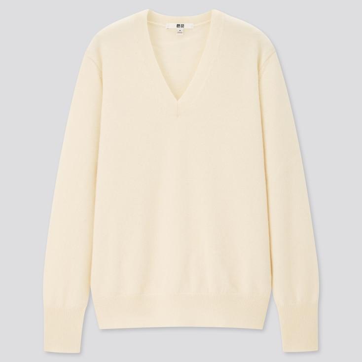 Women Cashmere V-Neck Sweater, Off White, Large