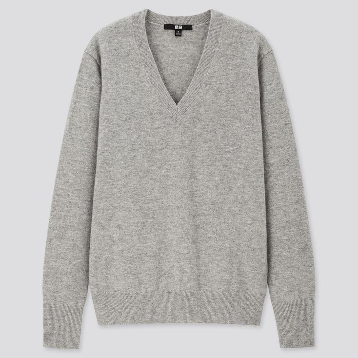 Women Cashmere V-Neck Sweater, Light Gray, Large