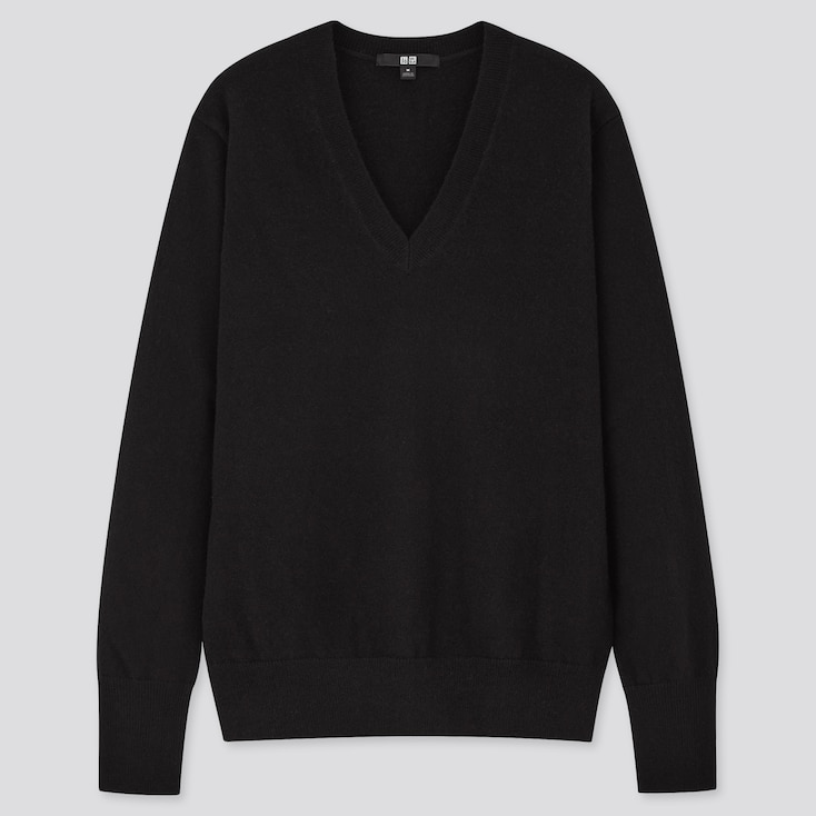 Women Cashmere V-Neck Sweater, Black, Large