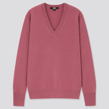 Women 100% Cashmere V Neck Jumper