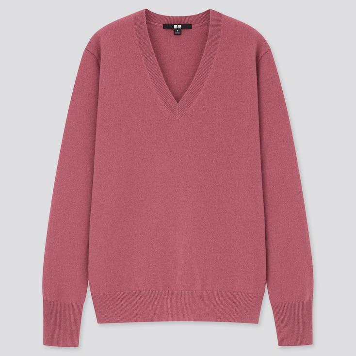Women Cashmere V-Neck Sweater, Pink, Large