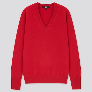 Women Cashmere V-Neck Sweater, Red, Medium