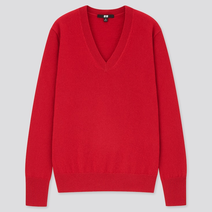 Women Cashmere V-Neck Sweater, Red, Large