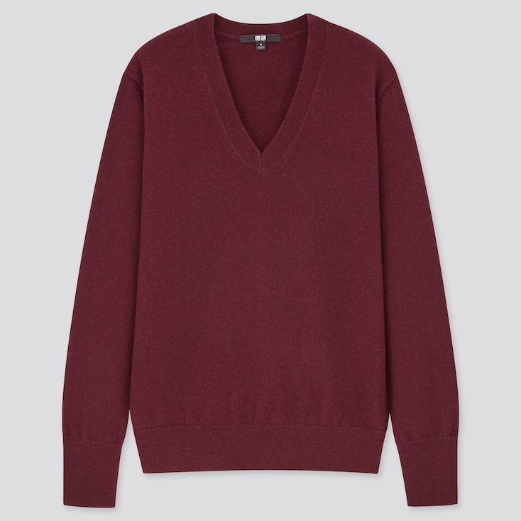 Women Cashmere V-Neck Sweater, Wine, Large