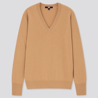 Women Cashmere V-Neck Sweater, Beige, Medium