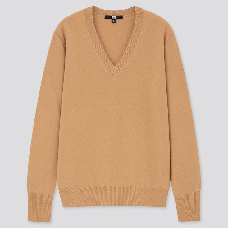 Women Cashmere V-Neck Sweater, Beige, Large