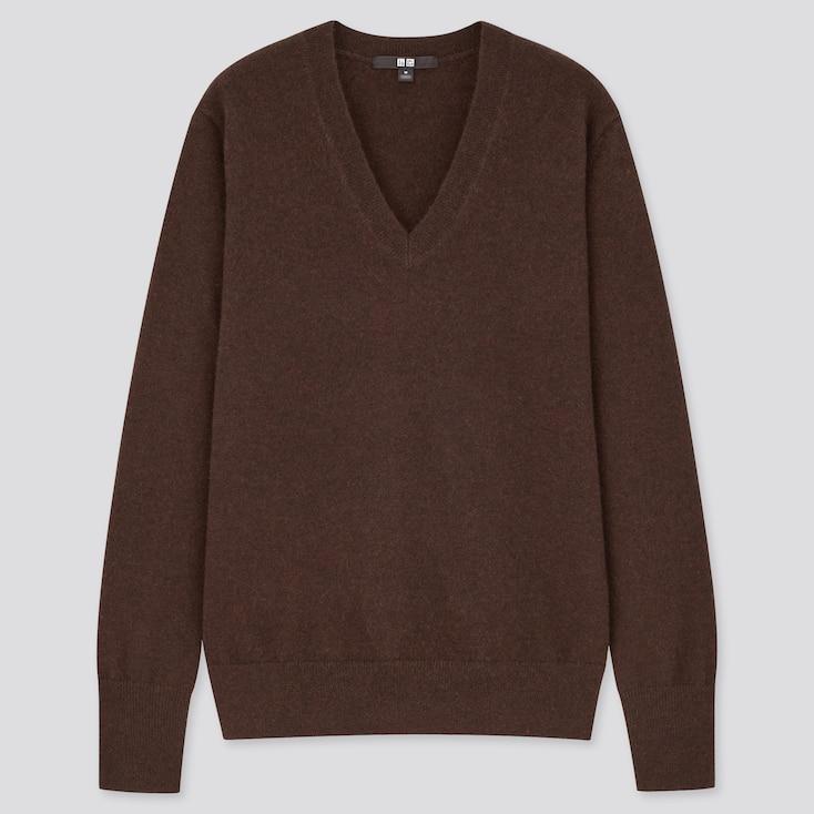 Women Cashmere V-Neck Sweater, Dark Brown, Large